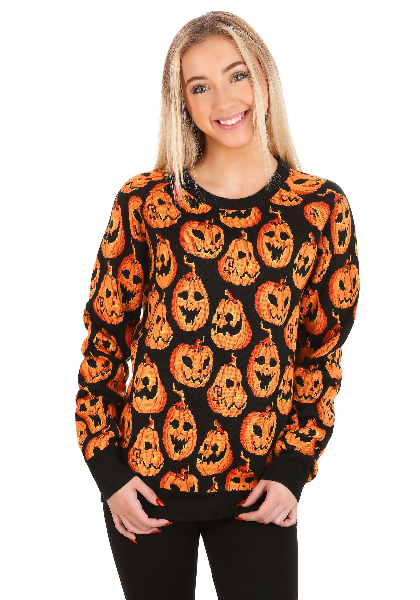 Pumpkin Frenzy Halloween Sweater for Adults