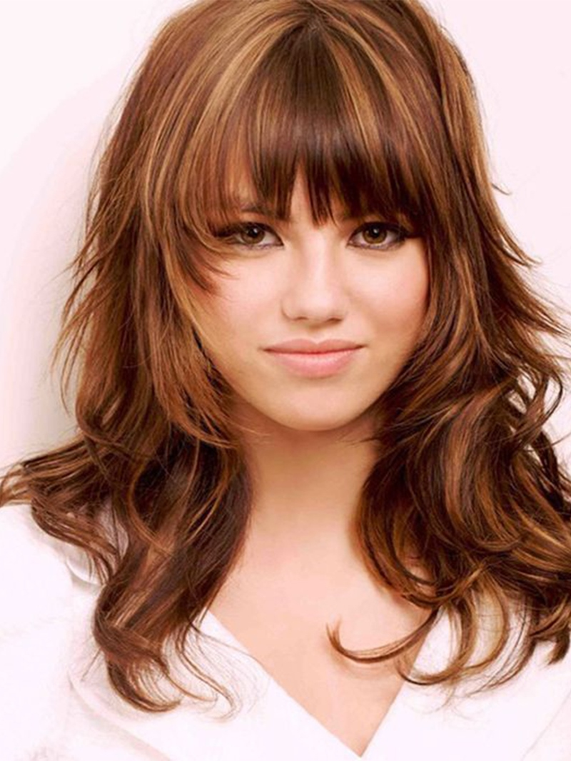 Ericdress Women's Layered Hairstyles Brown Color Wavy Synthetic Hair Wigs Capless Wigs With Bangs 20Inch