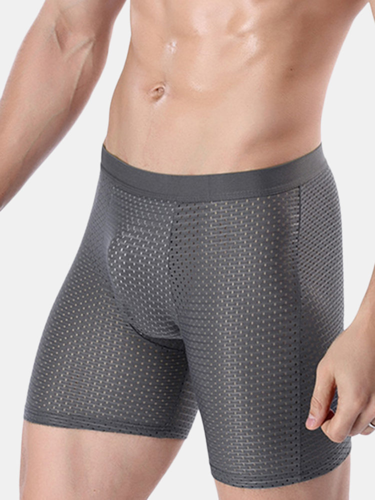 Sport Running Anti Friction Ice Silk Mesh Breathable Boxer Underwear for Men