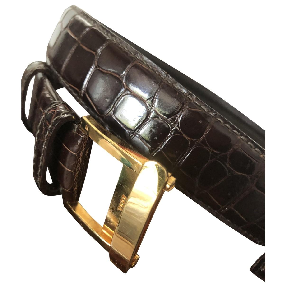 Arnys \N Brown Crocodile belt for Men 100 cm