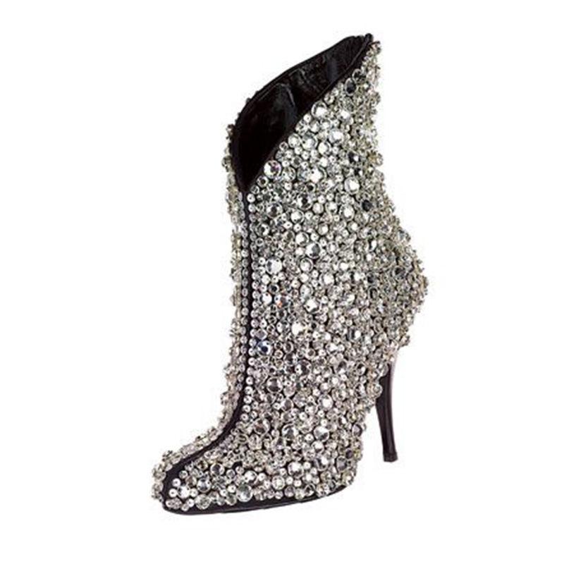 Ericdress Rhinestone Pointed Toe Plain Stiletto Heel Women's Boots