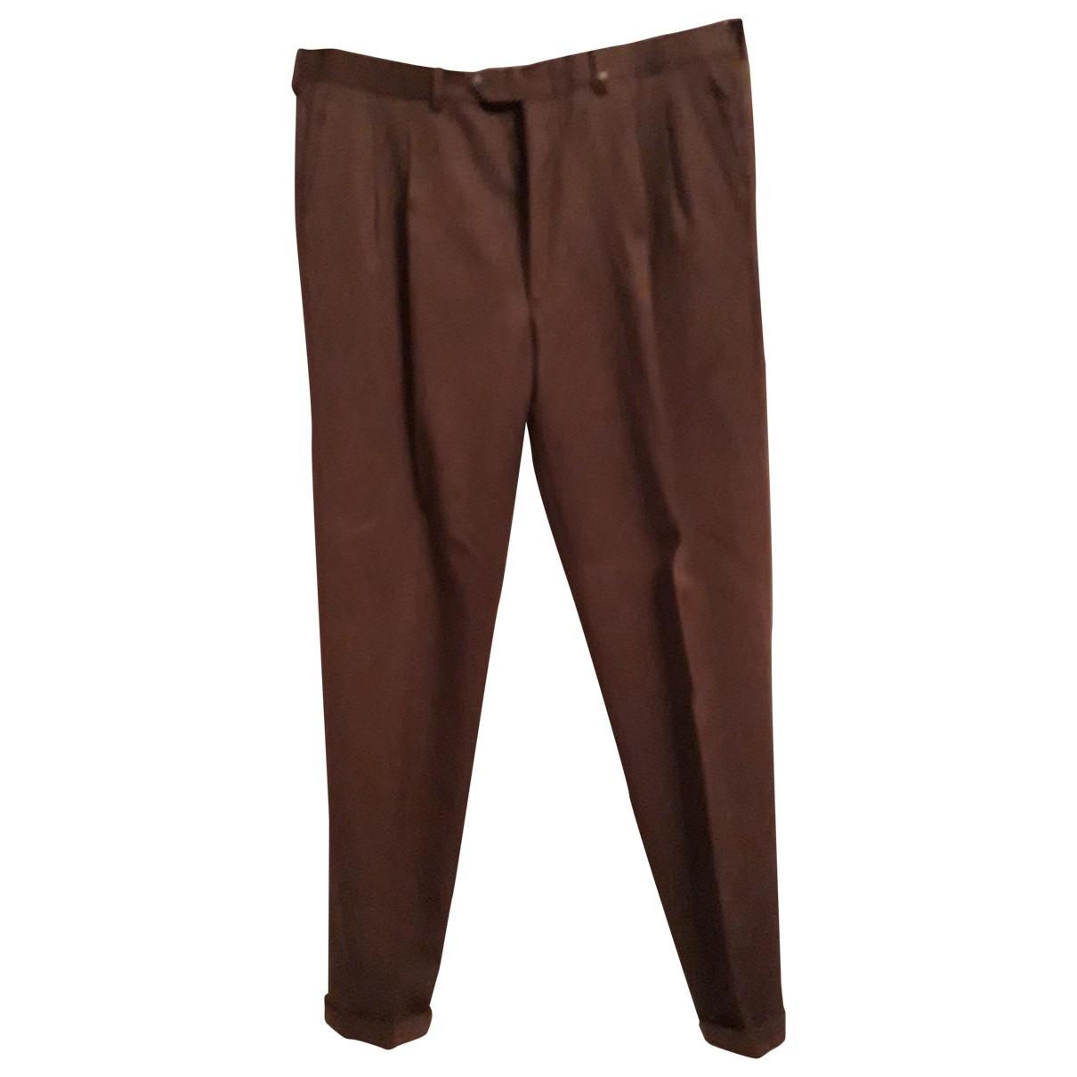 Trussardi \N Brown Wool Trousers for Men 54 IT