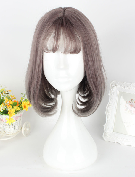 Milanoo Sweet Lolita Wigs Flaxen Center Parting Short Pageboy Wigs With Bangs