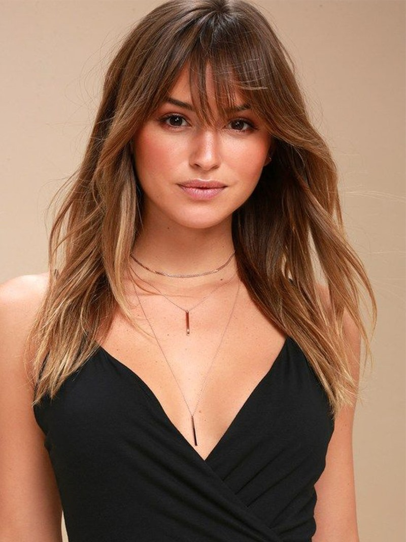 Ericdress Trendy Long Hairstyle Women's Natural Straight Synthetic Hair Wigs With Bangs Capless Wigs 22Inch
