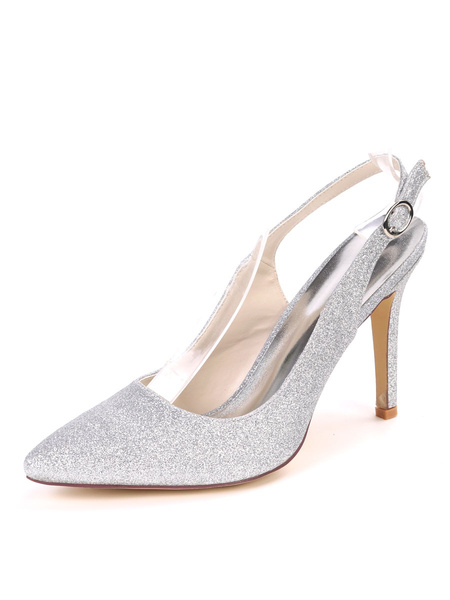 Milanoo Slingback Silver Prom Shoes Glitter High Heels Pointed Toe Party Shoes