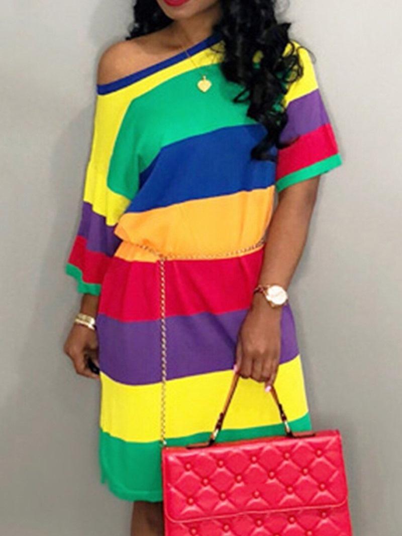 Ericdress Short Sleeve Print Round Neck Casual Color Block Dress
