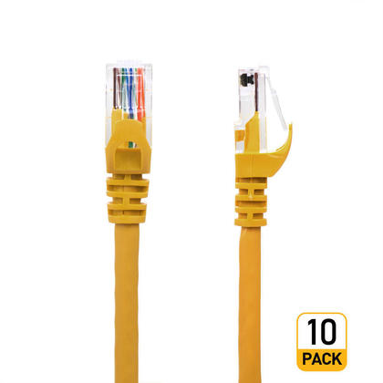 3FT Cat6 550MHz UTP 24AWG RJ45 Ethernet Network Cable - Yellow - PrimeCables® - 10/Pack