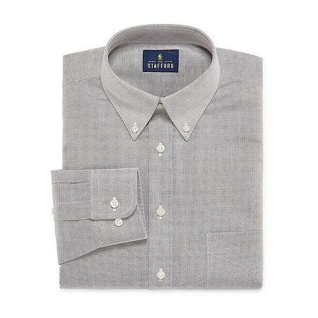 Stafford Mens Wrinkle Free Oxford Button Down Collar Regular Fit Dress Shirt, 17.5 34-35, Gray