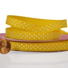 Dandelion with White Polka Dots Grosgrain ribbon - 3/8 X 25yd - by Paper Mart