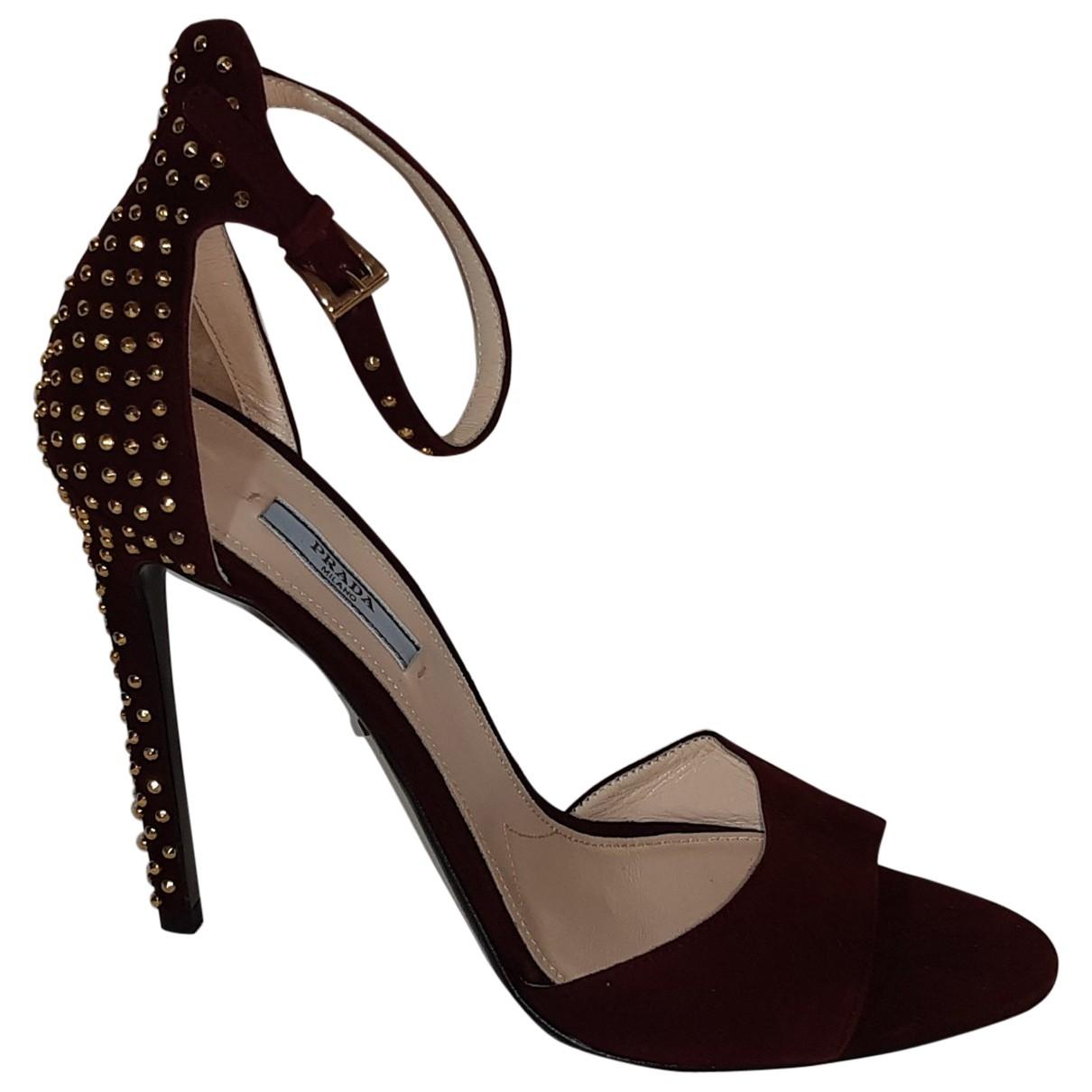 Prada \N Burgundy Suede Sandals for Women 40 EU