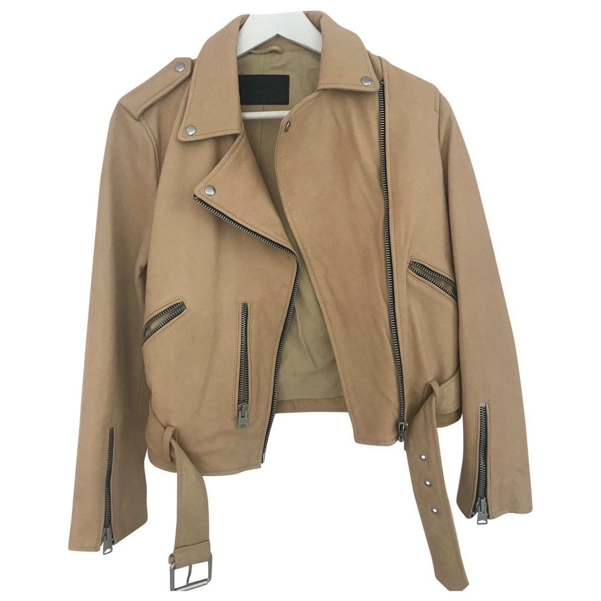 All Saints \N Yellow Leather Leather jacket for Women 10 UK