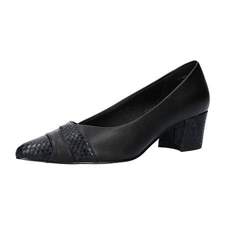 Easy Street Womens Elle Pumps Block Heel, 9 Wide, Black