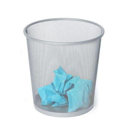 Foska® Corbeille à papier ronde, poubelle de bureau, 265mm x 285mm - Argent
