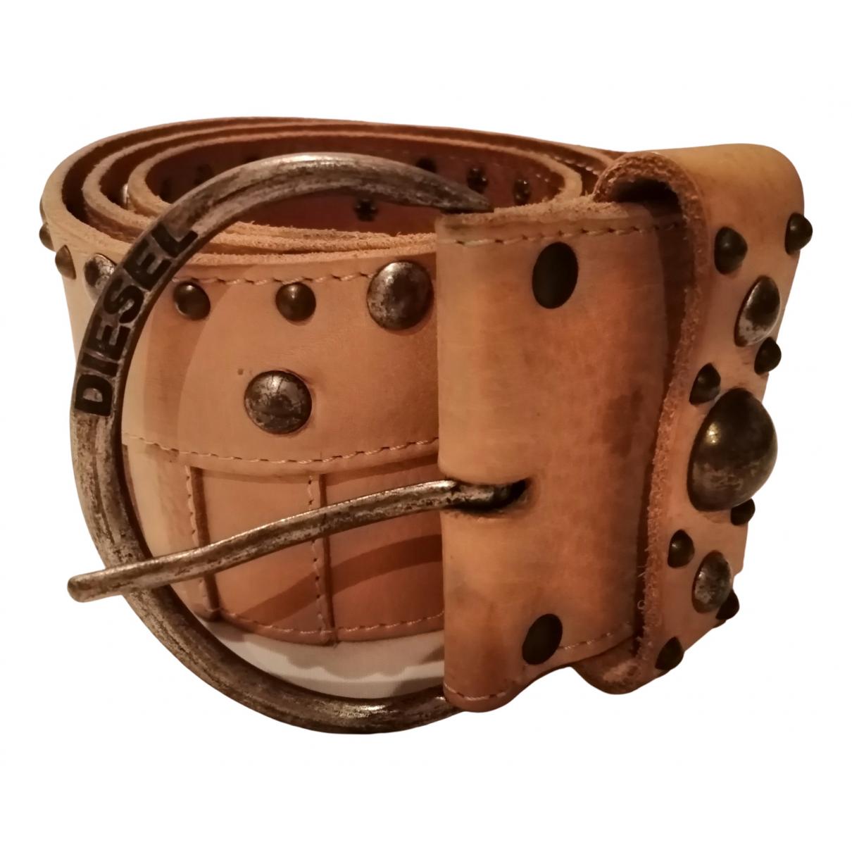 Diesel \N Beige Leather belt for Women 90 cm