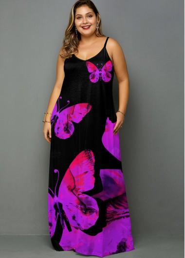 Butterfly Print Spaghetti Strap Plus Size Dress - 1X