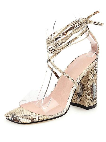 Milanoo High Heel Sandals Womens Snakeskin Open Toe Lace Up Block Heel Sandals