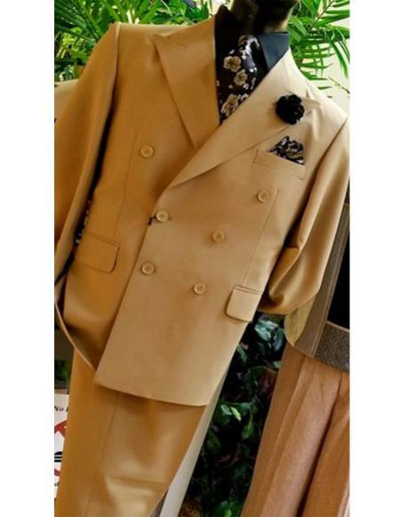 Mens Classic Double Breasted Peak Lapel tan suit