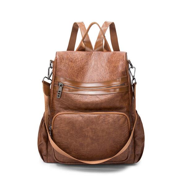 Women Men Vintage PU Leather Handbag Travel School Backpack Sport Shoulder Bags