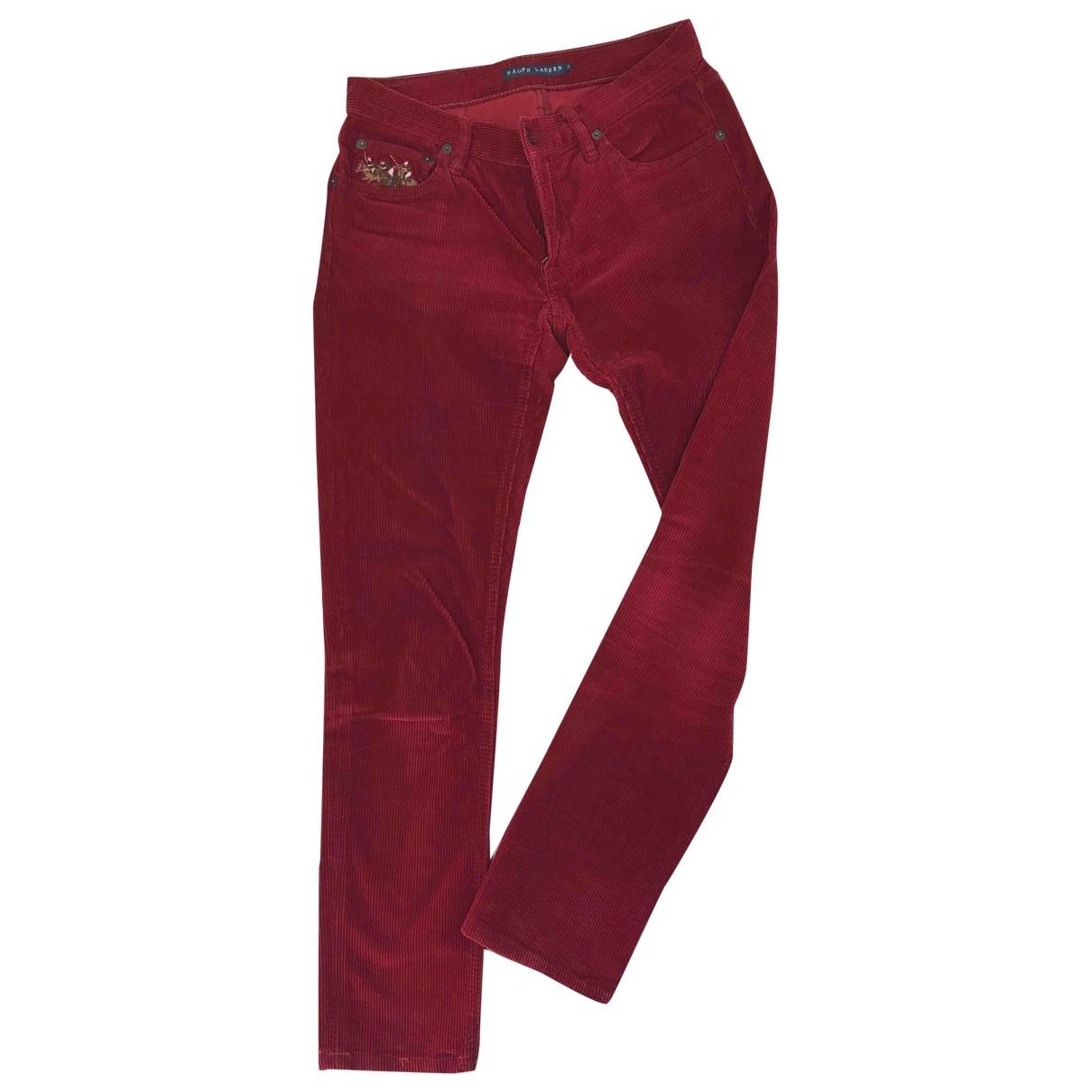 Ralph Lauren \N Red Velvet Trousers for Women 36 FR