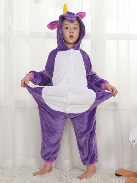 Milanoo Onesie Unicorn Kigurumi Pajamas Kids Unisex Purple Flannel Winter Sleepwear Mascot Animal Halloween Costume