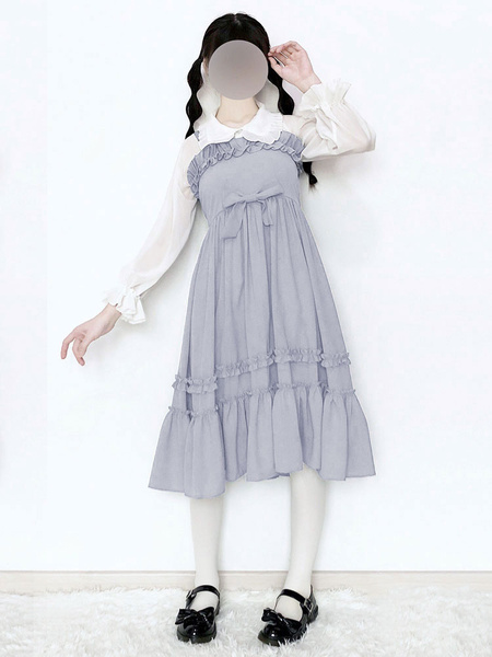 Milanoo Sweet Lolita JSK Dress Cinderella Ruffle Bow Ight Blue Chiffon Jumper Skirt