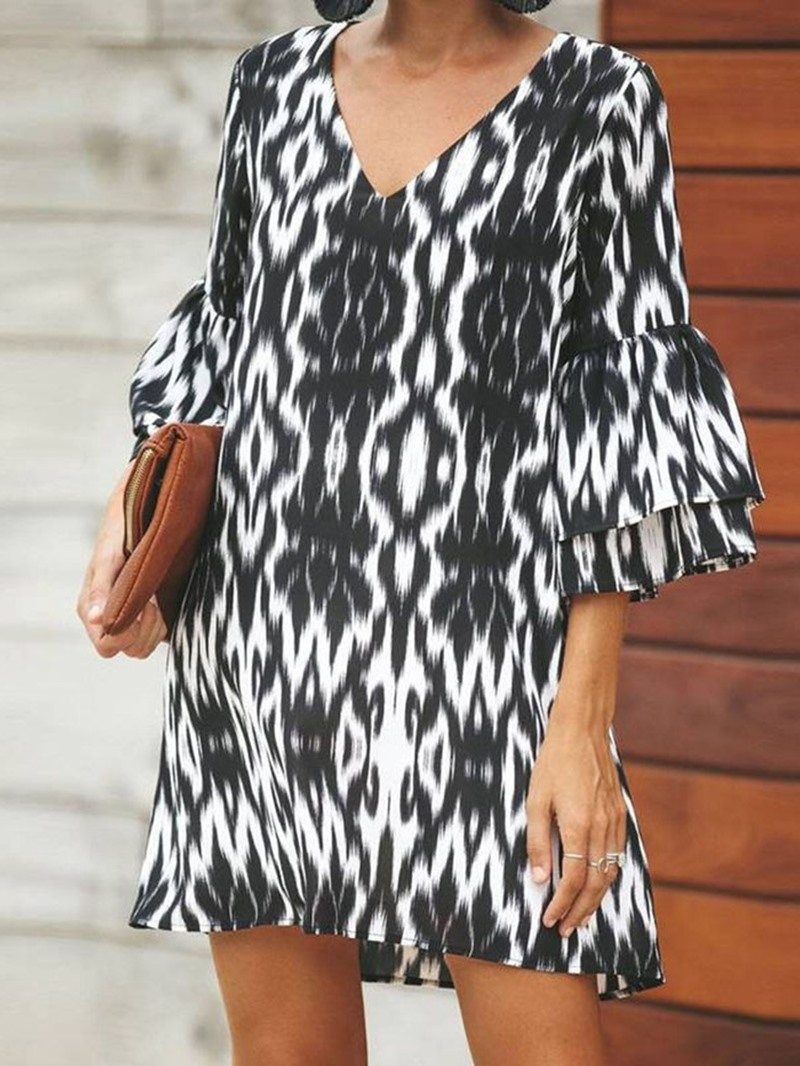 Ericdress V-Neck Flare Sleeve Above Knee Print Casual Dress