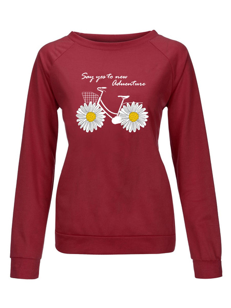 Milanoo Sweatshirts For Woman Red Round Neck Long Sleeve Floral Printed Sweatshirt