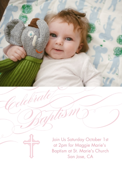 Christening + Baptism 5x7 Cards, Premium Cardstock 120lb with Scalloped Corners, Card & Stationery -Baptismal Blessings - Rose