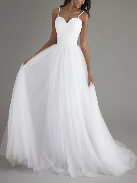 Milanoo Simple Wedding Dress Tulle Sweetheart Neck Sleeveless Sash A Line Bridal Dresses