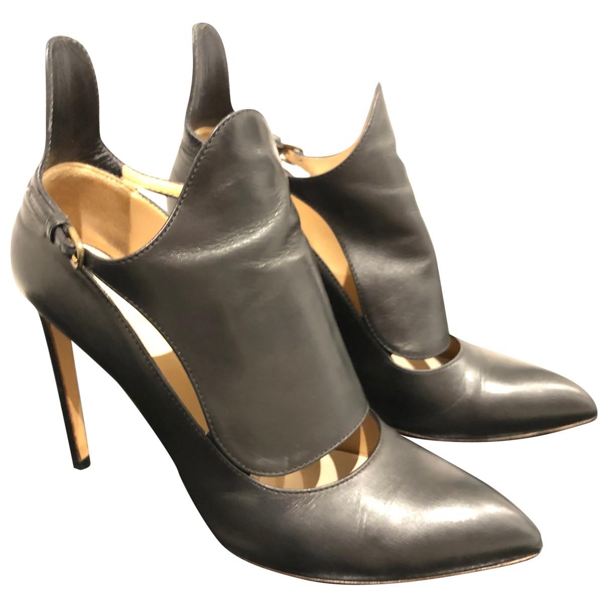 Francesco Russo \N Black Leather Heels for Women 37.5 EU