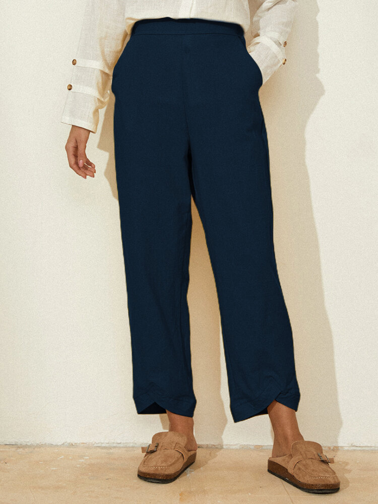 Casual Solid Color Elastic Waist Wide Leg Pants With Pocket