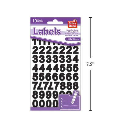 O.WKs. Number Labels, 10 Sheets, 150 x 100mm