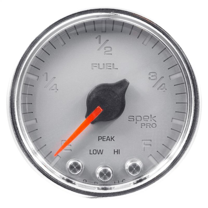AutoMeter GAUGE; FUEL LEVEL; 2 1/16in.; 0-270O PROGRAMMABLE; SLVR/CHRM; SPEK-PRO
