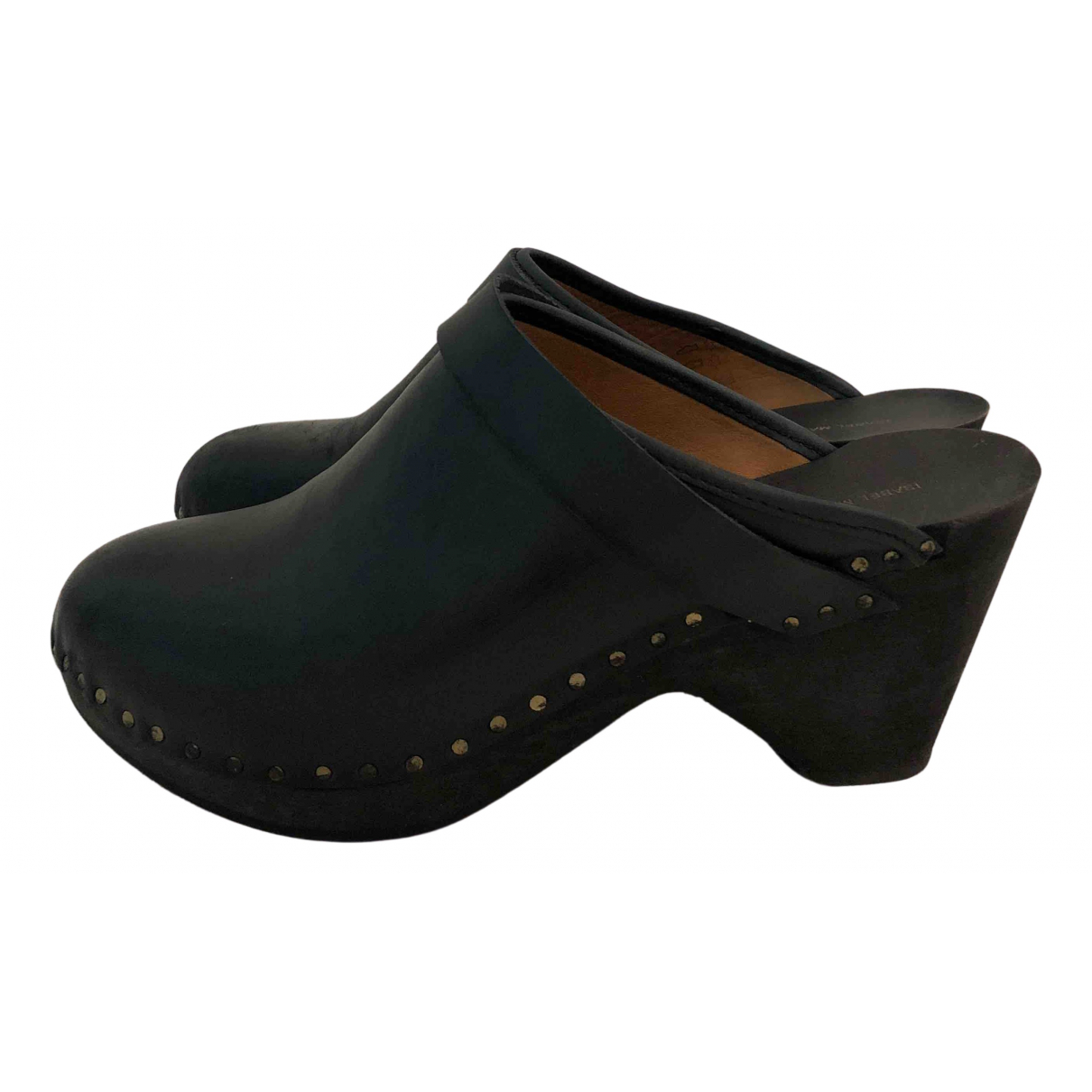Isabel Marant \N Navy Leather Mules & Clogs for Women 39 EU