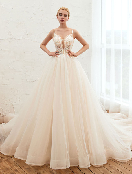 Milanoo Wedding Dress 2020 A Line V Neck Sleeveless Natural Waist With Train Tulle Bridal Gowns