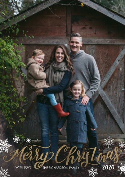 Christmas Photo Cards Flat Glossy Photo Paper Cards with Envelopes, 5x7, Card & Stationery -Christmas 2020 Snowflakes by Tumbalina