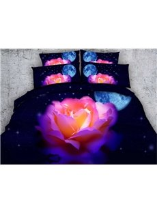 3D Blooming Pink Rose and Moon Printed 5-Piece Comforter Sets