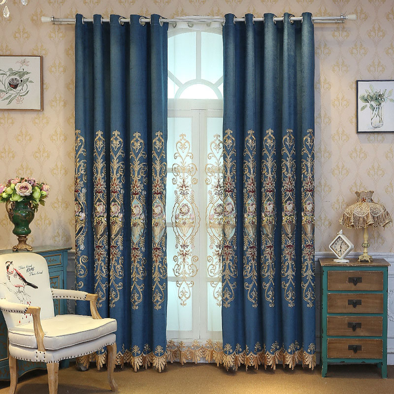 European Floral Embroidery Decoration Blackout Shading Curtains for Living Room Custom 2 Panels Drapes No Pilling No Fading No off-lining