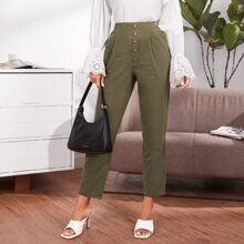 Solid Fold Pleated Button Front Pants