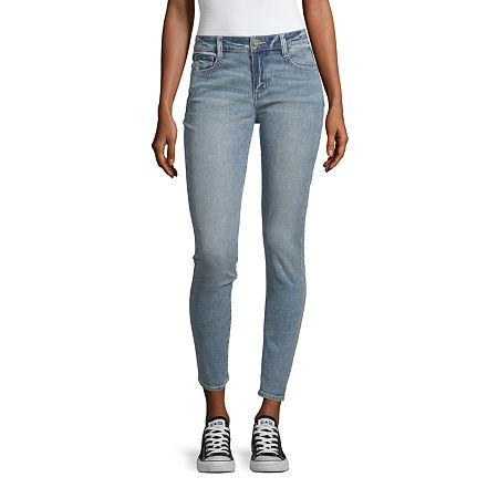 Arizona Mid Rise Skinny Fit Jean - Juniors, 19 Short , Blue