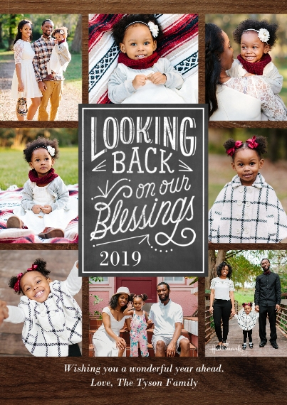 Christmas Photo Cards 5x7 Cards, Premium Cardstock 120lb with Scalloped Corners, Card & Stationery -Looking Back Blessings