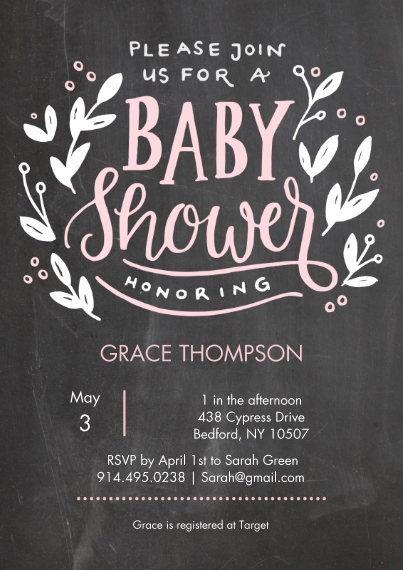 Baby Shower Invitations 5x7 Cards, Premium Cardstock 120lb, Card & Stationery -Baby Shower Chalkboard Floral
