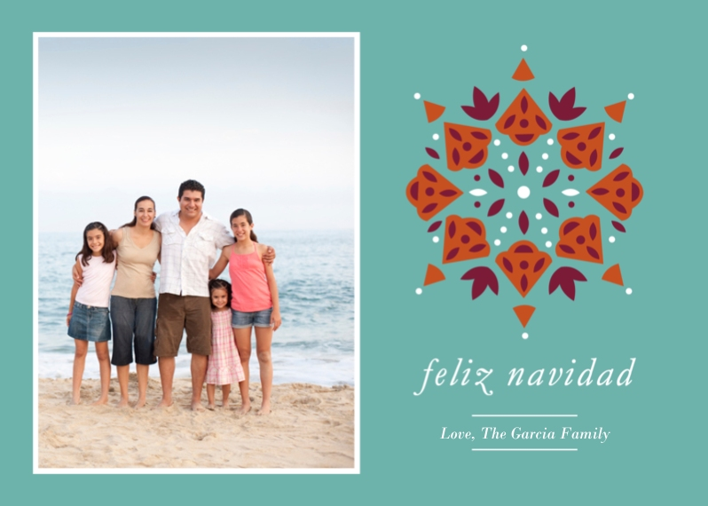 Tarjetas de Navidad Flat Glossy Photo Paper Cards with Envelopes, 5x7, Card & Stationery -Feliz Navidad Pattern