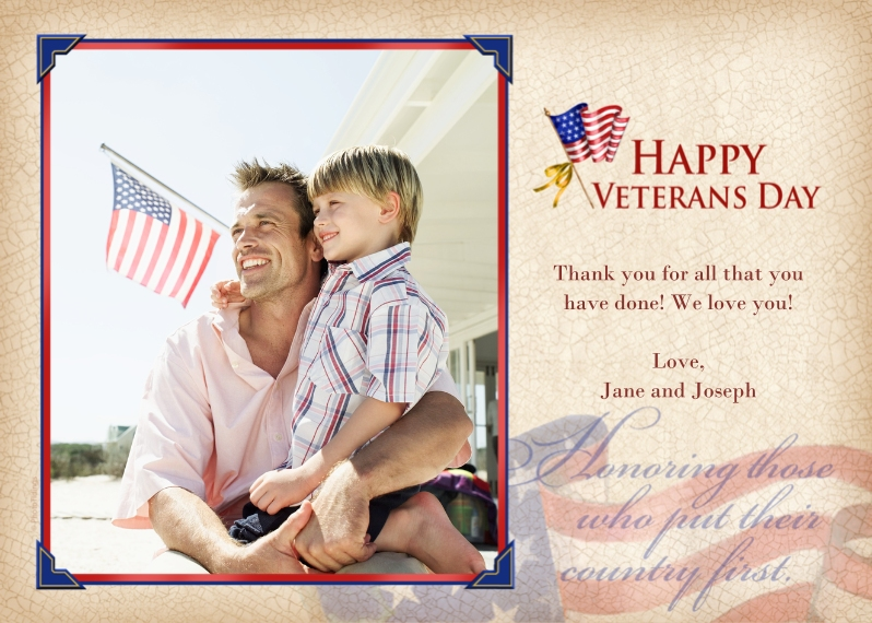 Veteran's Day Cards 5x7 Folded Cards, Standard Cardstock 85lb, Card & Stationery -Happy Veterans Day