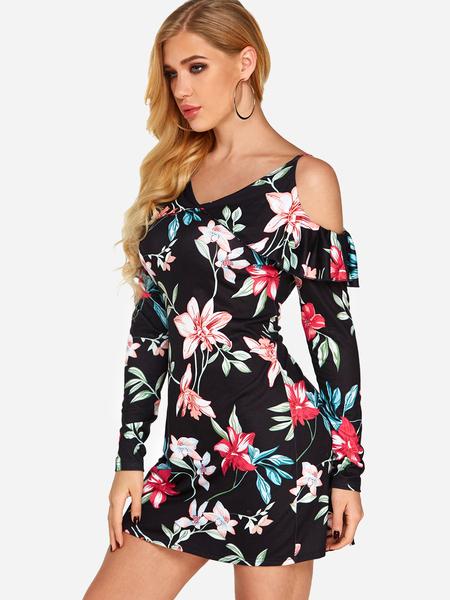 Yoins Black V neck Floral Print Flared Regular Dress