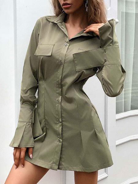 Milanoo Women Shirt Dresses Hunter Green Stand Collar Long Sleeve Buttons Slim Fit Short Dress