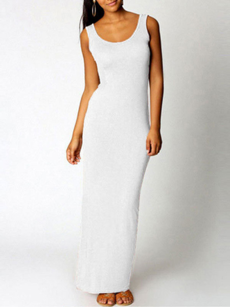 Milanoo Yellow Maxi Dress Women's Round Neck Sleeveless Long Dress