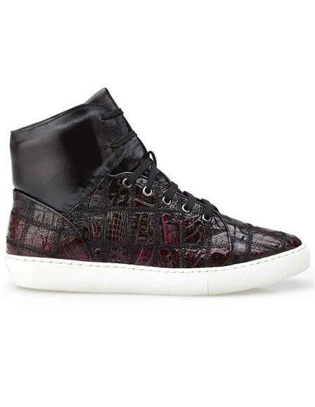 Mens Burgundy Crocodile Patch Work Lace Up Shoe