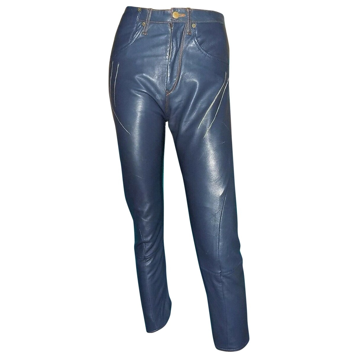 Levi's \N Blue Leather Trousers for Women 38 FR