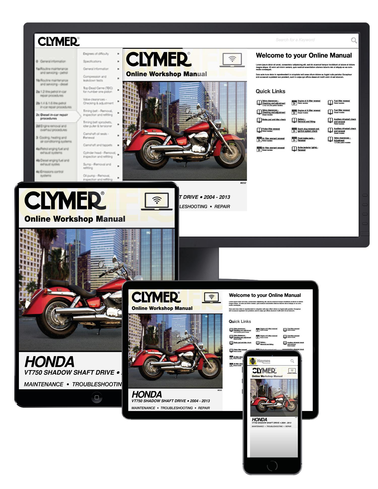 Honda VT750 Shadow Shaft Drive (04-13) Clymer Online Manual